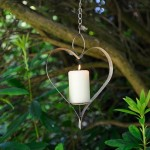 Aged Metal Heart Bird Feeder Candle Holder